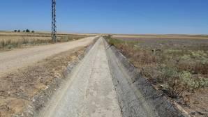 Canal de riego, ya sin agua, en el Bajo Carrión (Palencia), donde la campaña acabó el 15 de julio