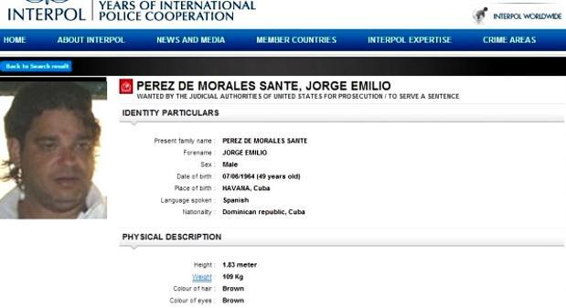 Ficha de Interpol de Jorge Emilio Pérez de Morales Sante