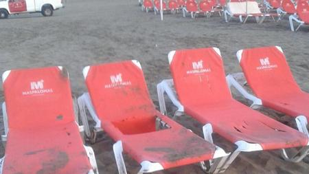 Un grupo de hamacas afectadas por el sabotaje de este mes de agosto