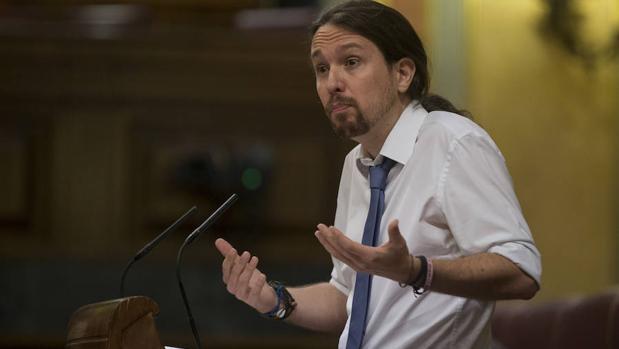Pablo Iglesias, líder de Podemos, en el Congreso de los Diputados