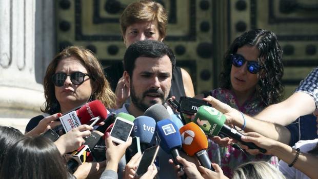 El coordinador federal de IU y portavoz adjunto de Unidos Podemos, Alberto Garzón, este viernes en el Congreso