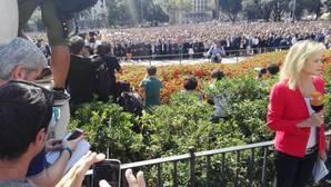 La plaza Cataluña, vista desde la tribuna de prensa