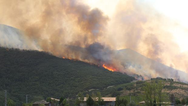 Incendio declarado en Encinedo (León)