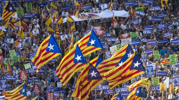 Banderas alzadas durante la manifestación de Barcelona