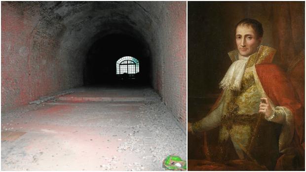 Aspecto actual del túnel, que será rehabilitado por el Consistorio; a la derecha, José Bonaparte
