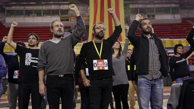 Dirigentes de las CUP, durante un acto de este partido independentista y de izquierda radical