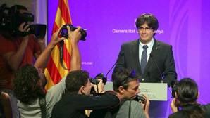 Carles Puigdemont, ante los medios