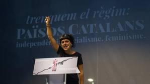 La diputada de la CUP, Anna Gabriel, durate el acto del partido en la Diada