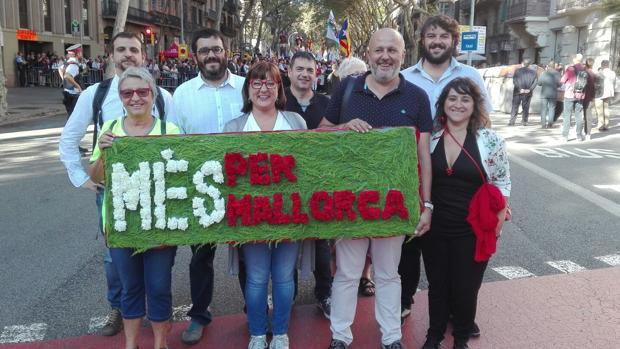 La delegación de MÉS por Mallorca, en los actos de la Diada
