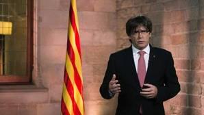 Carles Puigdemont durante el tradicional mensaje institucional con motivo de la celebración de la Diada