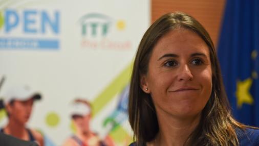 Imagen de Anabel Medina durante la presentación del torneo