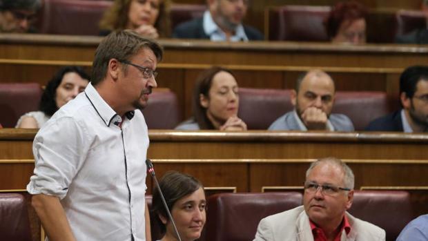 El portavoz de En Comù Podem en el Congreso, Xavier Domènech, este miércoles en la Cámara Baja