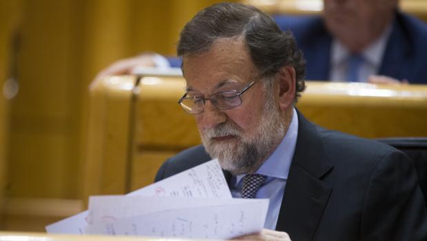 El presidente del Gobierno, Mariano Rajoy, en el Senado