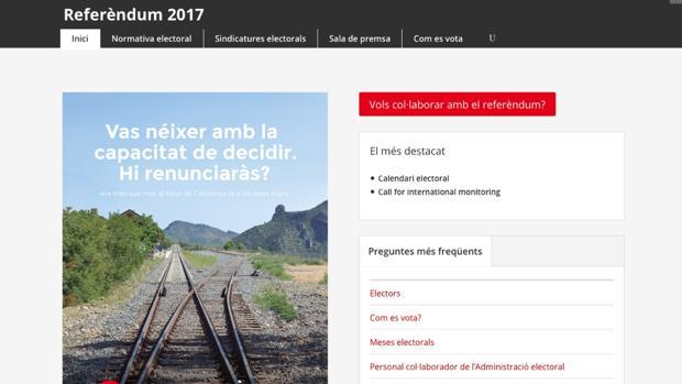 Captura de pantalla de la web del referéndum del 1 de octubre