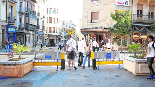 Imagen de la viga desplegada en los aledaños de la Plaza Mayor