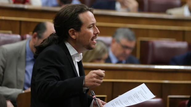 Pablo Iglesias, el pasado miércoles en su escaño del Congreso de los Diputados