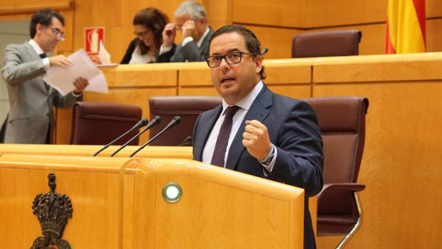 El portavoz de Turismo del PP en el Senado, Agustín Almodóbar, presentando la moción