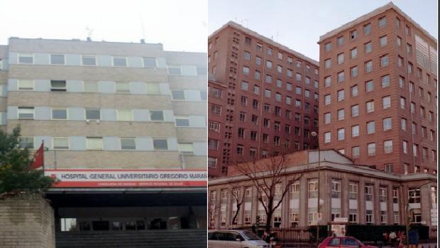 Hospital Gregorio Marañón (izq.), y de la Princesa (dcha)