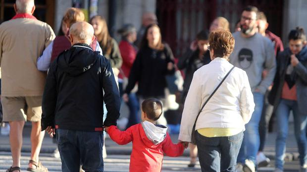 Una pareja con su nieto