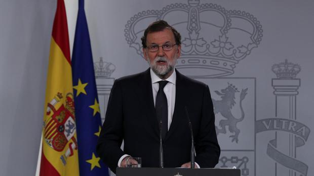 Mariano Rajoy, durante su comparecencia en Moncloa