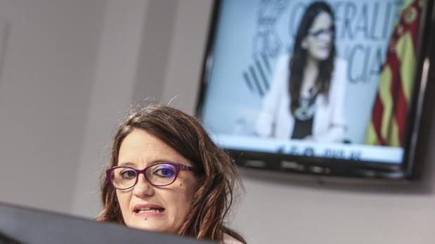 Mónica Oltra, este viernes en la rueda de prnesa del Consell, cuando hizo las declaraciones