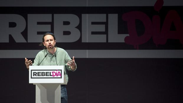 Pablo Iglesias, ayer, durante un acto en Alcorcón (Madrid)