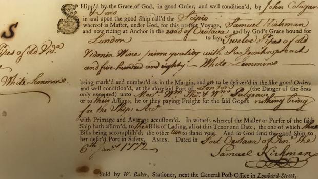 Conocimiento de embarque de 1772 donde se refleja la subida de 580 limones con destino a Londres.