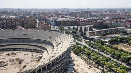 Detalle del Nuevo Mestalla captado este miércoles