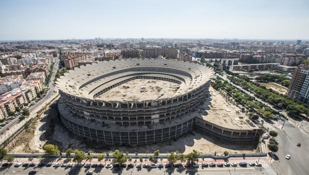 Imagen del Nuevo Mestalla tomada este miércoles