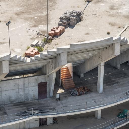 Imagen de las obras paralizadas del Nuevo Mestalla