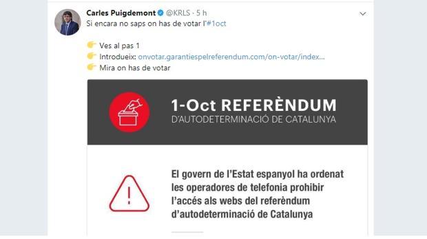 Puigdemont publica un nuevo tuit con instrucciones para buscar dónde votar
