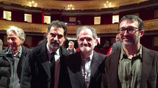 Imagen de los líderes de Òmniun, la Obra Cultural Balear y ACPV
