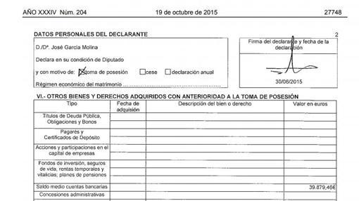 Declaración de 2015, en la que el apartado de «fondos de inversión» está en blanco