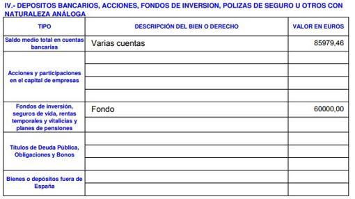 Declaración de 2017, donde sí aparece el fondo de inversión de 60.000 euros