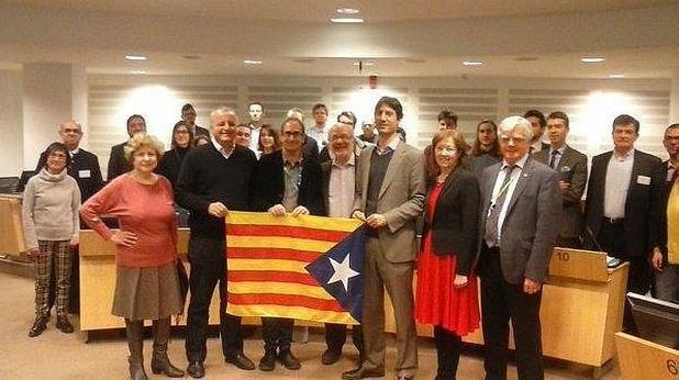 Imagen de archivo de Jordi Sebastià, en el centro, con el resto de integrantes de la Alianza Libre Europea
