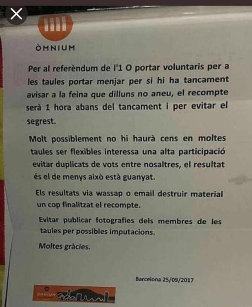 Documento que están recibiendo funcionarios y otros trabajadores y que Òmnium desmiente
