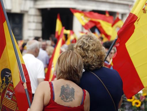 Imagen tomada en la manifestación en la plaza del Ayuntamiento de Valencia