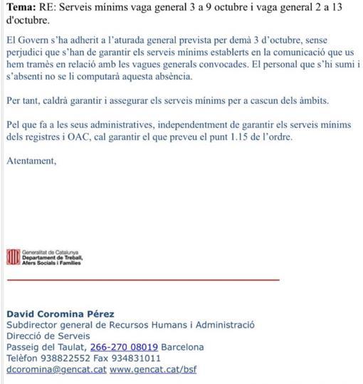 La carta enviada por la Generalitat a los funcionarios