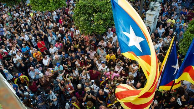Manifestación a favor del independentismo catalán en Pineda de Mar, en Barcelona