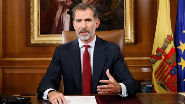 Don Felipe, durante su mensaje a los españoles transmitido en la noche del pasado martes