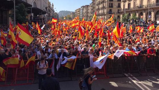 Así se ve desde el escenario el final de la manifestación de Barcelona