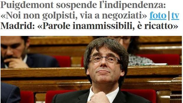 Portada de la edición web de «Corriente della Sera»