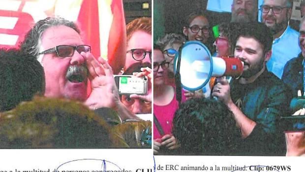 Tardá y Rufián, en las fotos del informe policial