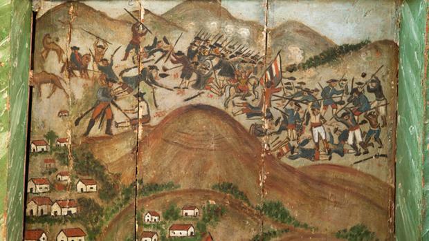 Retablo de la iglesia de San Miguel arcángel, en Tuineje, Fuerteventura, sobre la batalla de Tamasite