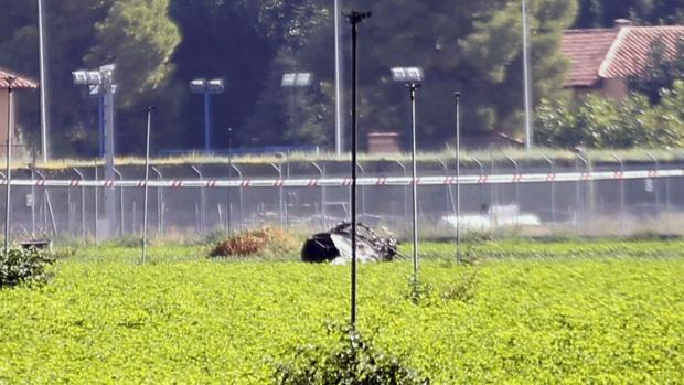 El avión Eurofighter accidentado en la base de Los Llanos tras el suceso en el que ha muerto el piloto Borja Aybar