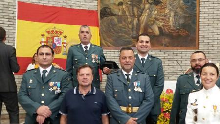 Guardias civiles de San Mateo, Gran Canaria, entre otros,, tras la Misa de este jueves