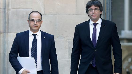 Jordi Turull junto a Carles Puigdemont esta mañana