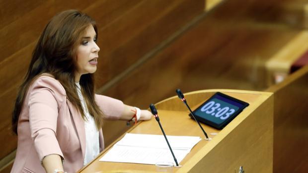 La portavoz de Ciudadanos, Mari Carmen Sánchez, durante el pleno de este jueves