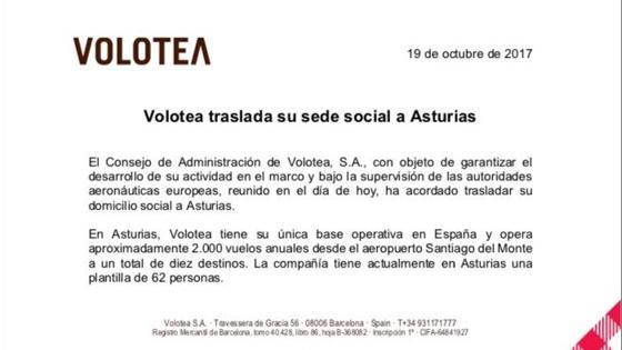 Comunicado en que la aerolínea Volotea ha anunciado que traslada su sede social de Cataluña a Asturias