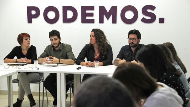 Imagen de la rueda de prensa de Podemos celebrada este martes